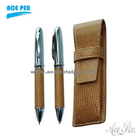 PU leather metal pen set with PU leather case
